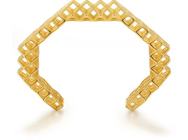 Lattice Bangle in 18k Gold Plated Brass