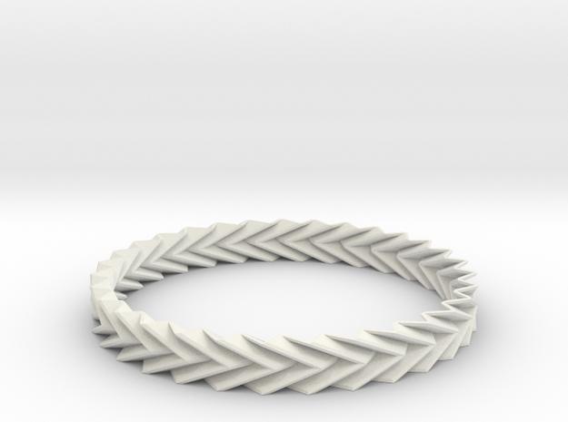 Bracelet Miura - Origami Inspired Design in White Natural Versatile Plastic