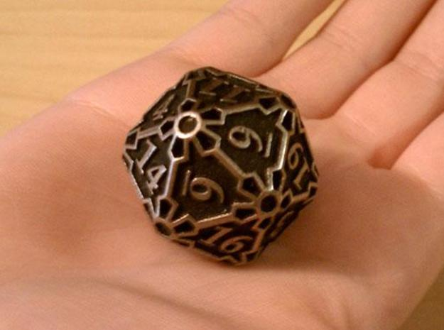 Huge Die20 3d printed In stainless steel and inked.