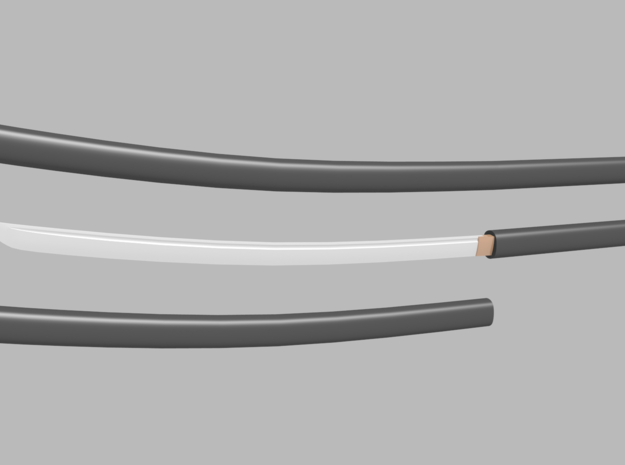 Katana - 1:6 scale - Curved Blade - Plain in Smooth Fine Detail Plastic