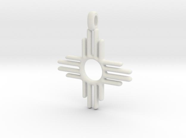 Zia Sun Native American Symbol Jewelry Pendant 2.5 in White Natural Versatile Plastic