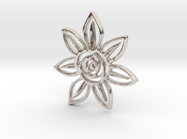 Abstract Rose Flower Pendant Charm in Rhodium Plated Brass