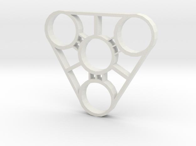 Tri-Fidget Spinner - Works with 608ZZ bearings! in White Natural Versatile Plastic