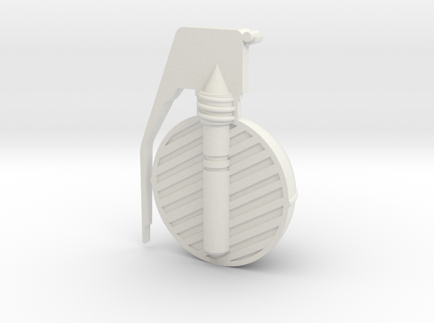 Frag Grenade Cross Section in White Natural Versatile Plastic