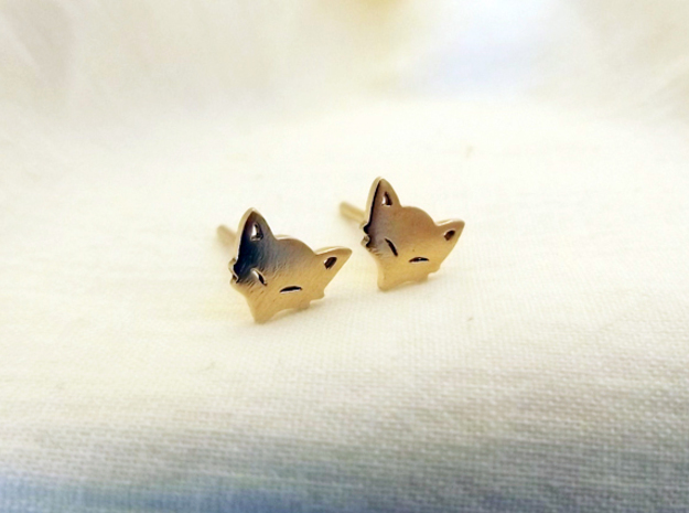 Mischievious Fox™ Post Earrings in Natural Brass