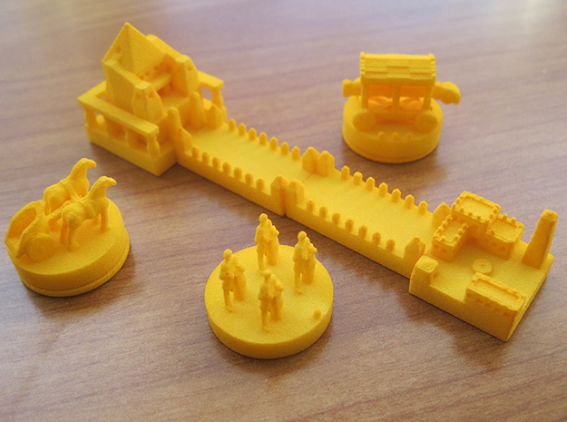 Base Catan Orange Piece Set 3d printed Base set of tokens and knights expansion tokens