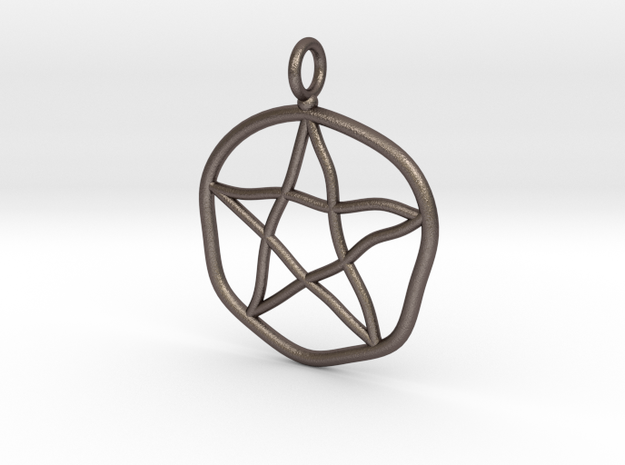 Warped pentagram necklace in Polished Bronzed Silver Steel