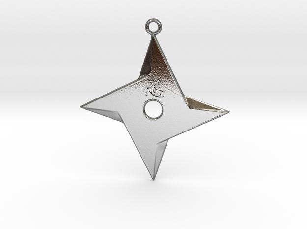 Ninja Star pendant  in Polished Silver