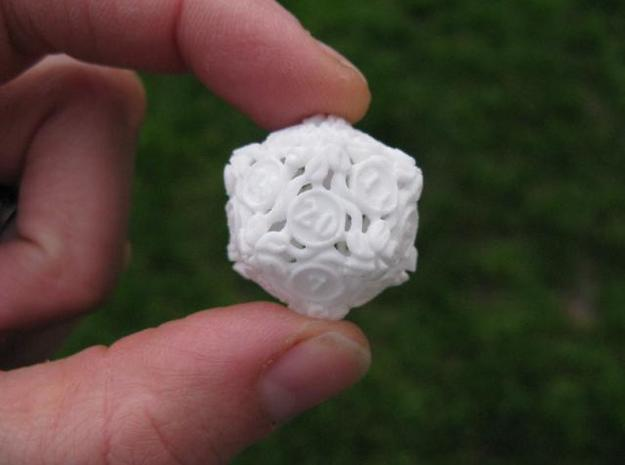 20-sided die with leaves 3d printed In WSF.  Light and airy.