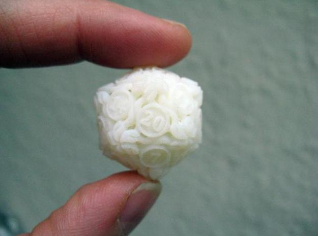 20-sided die with leaves 3d printed White detail