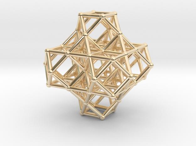 7 VE cluster, 8 Octahedron, Cellular Universe in 14k Gold Plated Brass