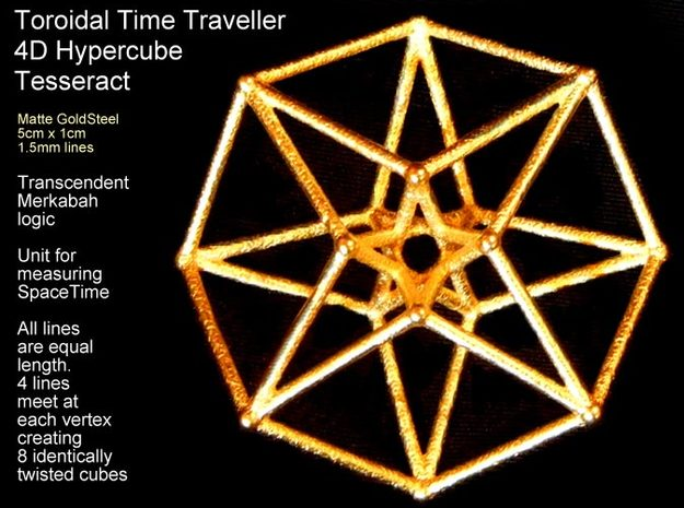 Sacred Geometry: Toroidal Hypercube 50mmx1.5mm  in White Natural Versatile Plastic