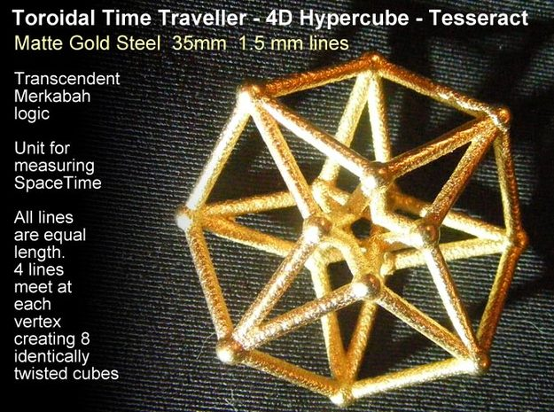 Toroidal Hypercube 35mm 1.5mm Time Traveller in Matte Gold Steel