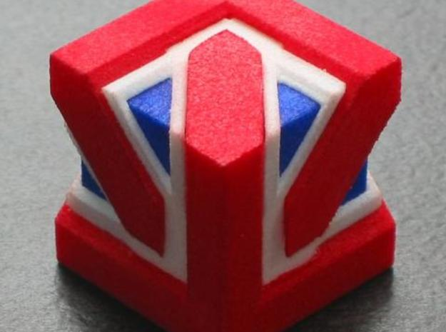 Union Jack Cube in White Natural Versatile Plastic