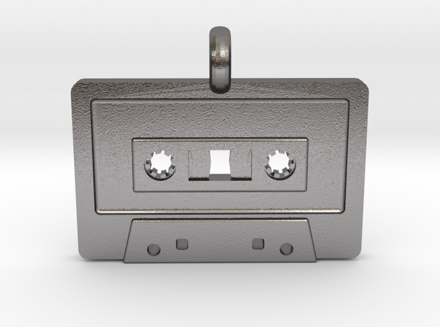 Cassette Tape Pendant in Polished Nickel Steel