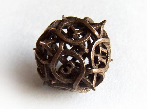Thorn Die12 3d printed In Polished Bronze Steel