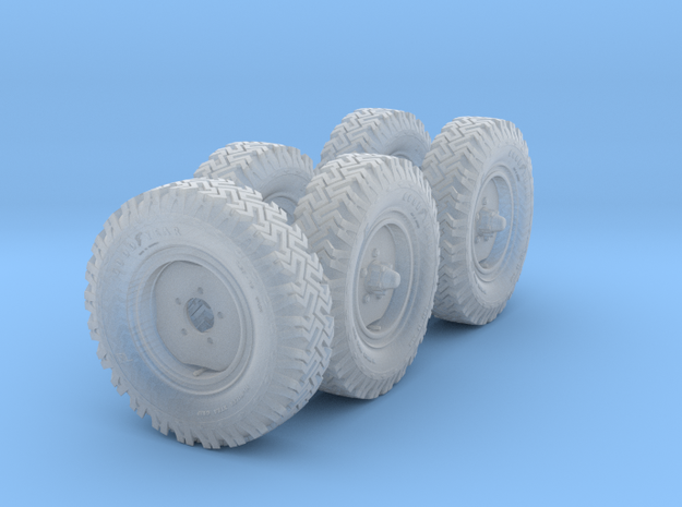 1/72 Set of Australian LRPV Land Rover Wheels in Smooth Fine Detail Plastic