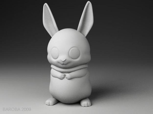 Bowie the bunny (2mm thick) in White Natural Versatile Plastic