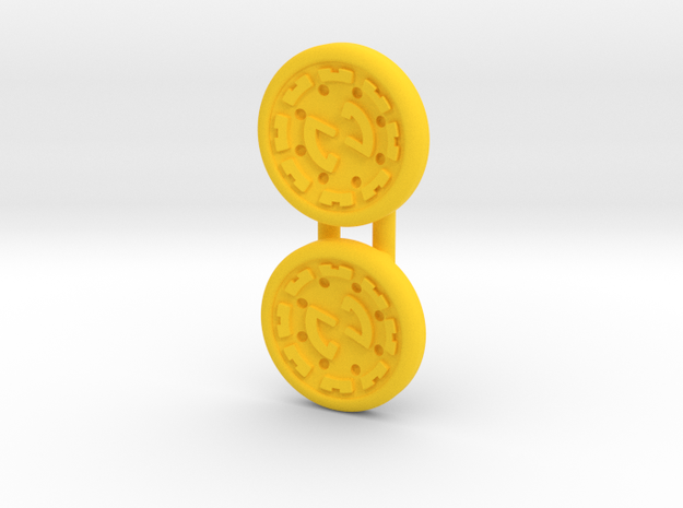 Dwemer spinner caps - Screw type, Standard in Yellow Strong & Flexible Polished