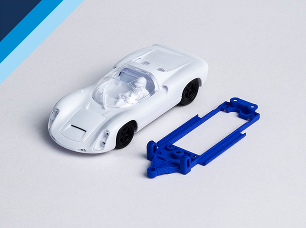 1/32 MRRC Porsche 910 Chassis for Slot.it pod in Blue Strong & Flexible Polished