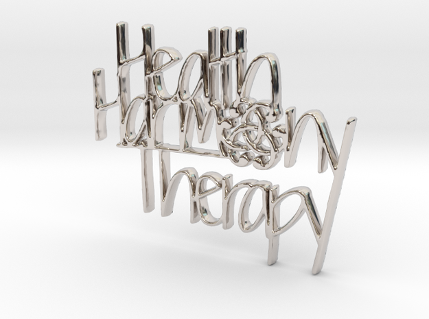 Health Harmony Therapy Logo in Rhodium Plated Brass