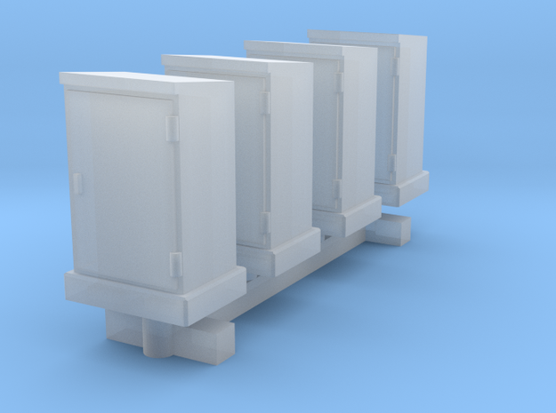 N Scale 4 High Voltage Cabinets in Smooth Fine Detail Plastic