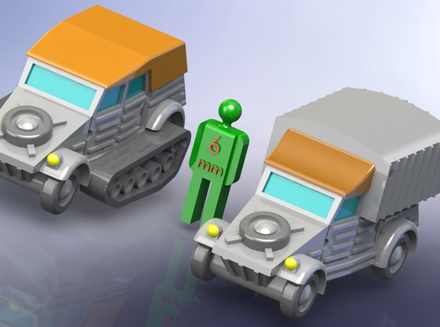 VW Type 82 Kübelwagen Variants 1/285 6mm 3d printed w/o Figure