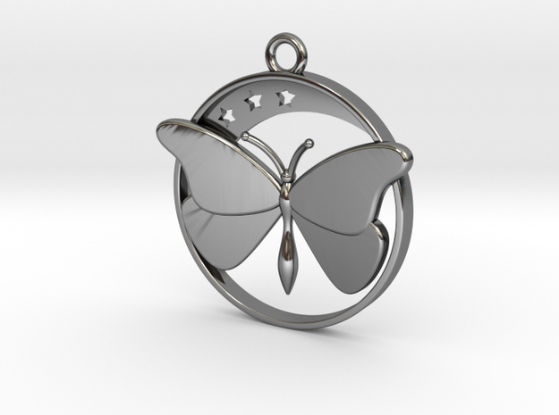 Stars, Moon and Butterfly Pendant in Fine Detail Polished Silver