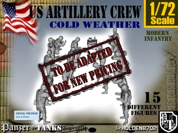 1-72 US Artillery Crew Cold Weather in Transparent Acrylic