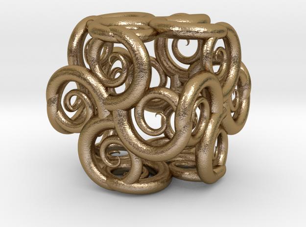 Spiral Fractal Cube in Polished Gold Steel