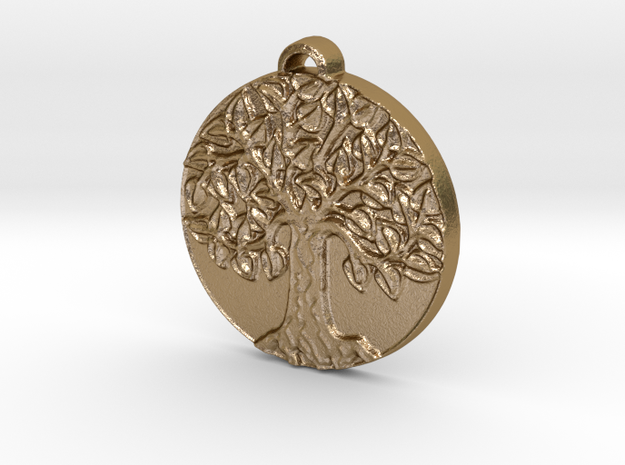 Tree of Life in Polished Gold Steel: Medium