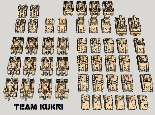 "3mm ""Team Kukri"" Tracked Armor Task Force (48pcs) in Frosted Ultra Detail"