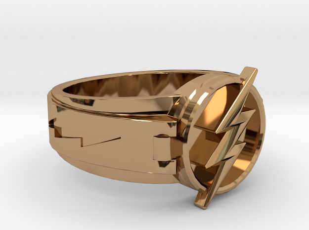 V3 Flash Ring Size 15, 23.83mm in Polished Brass