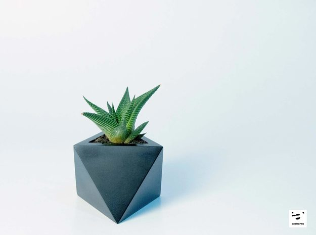 Octaedro - planter for succulents and cactuses in Black Natural Versatile Plastic: Small