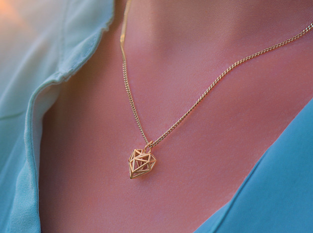 Heart Pendant Necklace in 14k Gold Plated