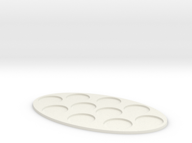 Oval Diorama Movement Tray - 32mm Round Slots in White Natural Versatile Plastic