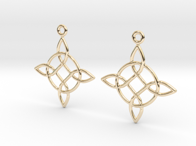Celtic Weave Earrings - WE023 in 14k Gold Plated Brass