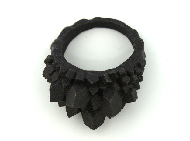 Crystal Ring Size 8 3d printed matte black steel