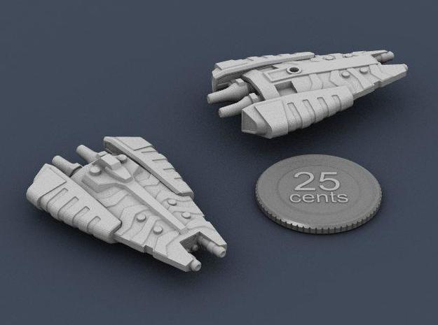 Tusokk Mace class Dreadnought 3d printed Renders of the ship, plus a virtual quarter for scale.