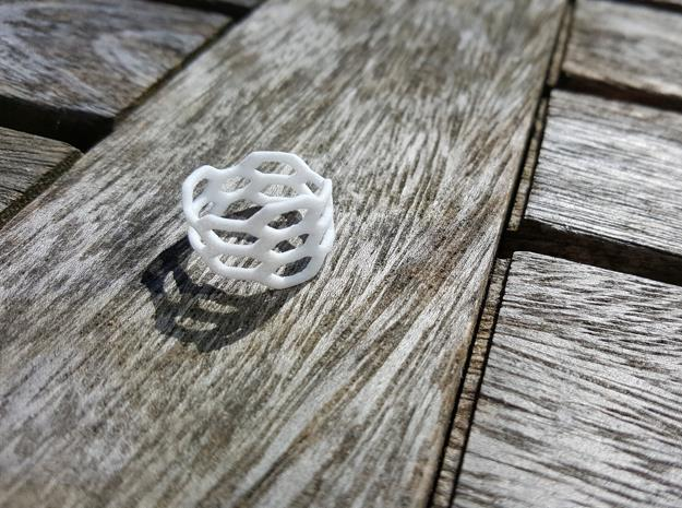 Honeycomb Wide Ring in White Natural Versatile Plastic: 6 / 51.5