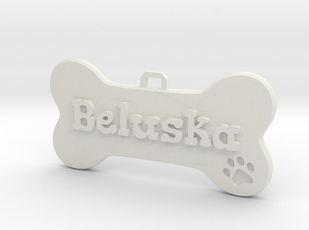 Dog Tag (customizable) in White Natural Versatile Plastic