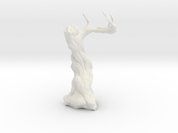 Twisted Tree - Tabletop Prop in White Natural Versatile Plastic: 28mm