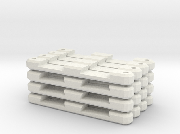 Combo Double Track Supports in White Natural Versatile Plastic