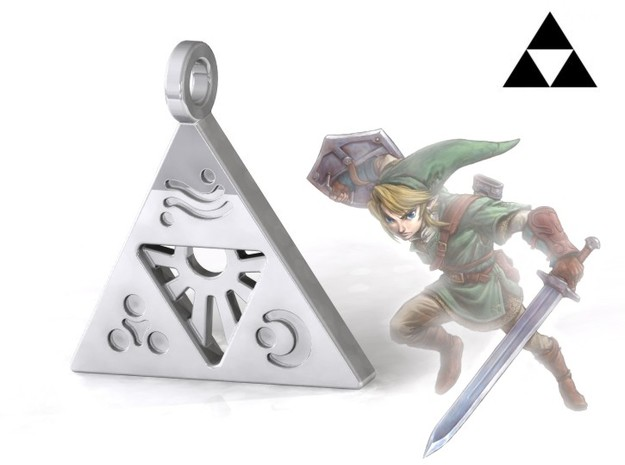 Zelda-Triforce Pendant in Polished Silver