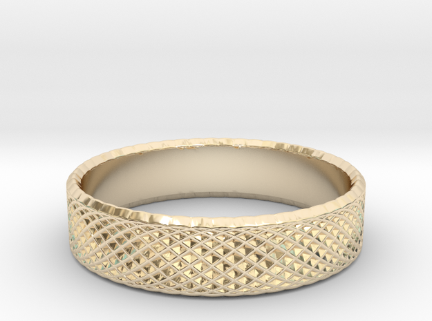 0217 Lissajous Figure Ring (Size8.5, 18.5mm) #022 in 14k Gold Plated Brass