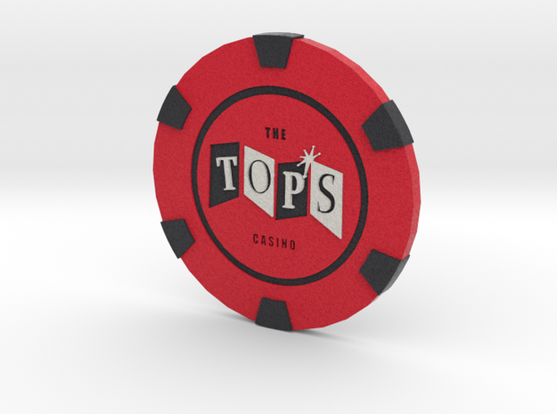 The Tops Poker Chip in Full Color Sandstone