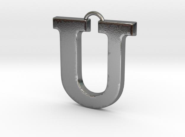 U Pendant in Polished Silver