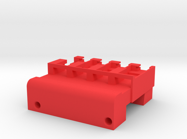 Neoden 4-Gang, 12mm feeder block in Red Strong & Flexible Polished