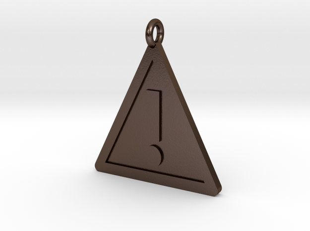 Warning Sign Pendant in Polished Bronze Steel