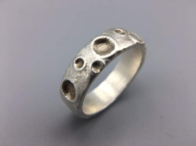 Moon Ring in Raw Silver: 8 / 56.75